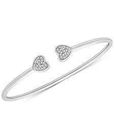 Diamond Heart Cuff Bracelet (1/5 ct. t.w.) in Sterling Silver