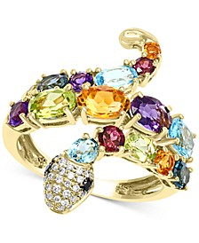 EFFY® Multi-Gemstone (3-1/2 ct. t.w.) & Diamond (1/10 ct. t.w.) Snake Ring in 14k Gold