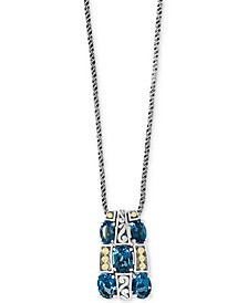 "EFFY® London Blue Topaz 18"" Pendant Necklace (4-1/5 ct. t.w.) in Sterling Silver & 18k Gold"