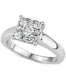 Diamond Square Halo Engagement Ring (3/4 ct. t.w.) in 14k White Gold