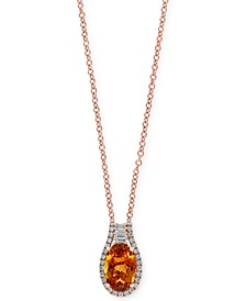 "EFFY® Citrine (3-3/8 ct. t.w.) & Diamond (3/8 ct. t.w.) 18"" Pendant Necklace in 14k Rose Gold"