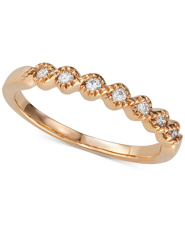 Macy's Diamond Beaded Twist Band (1/8 ct. t.w.) in 14k Rose Gold