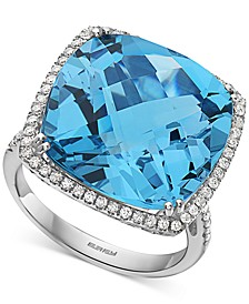 EFFY® Blue Topaz (19-7/8 ct. t.w.) & Diamond (1/3 ct. t.w.) Statement Ring in 14k White Gold