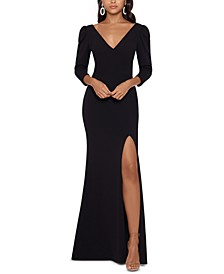 Puff-Sleeve V-Neck Gown
