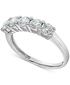 Diamond Five Stone Band (1 ct. t.w.) in 14k White Gold