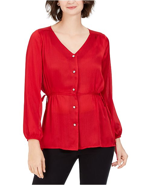 NY Collection Petite Tie-Side Peplum Blouse