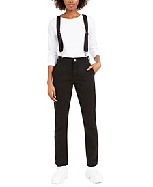 Straight-Leg Suspender Pants