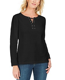 Lace-Up French Terry Sweatshirt, Created For Macy's