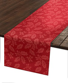 "Holly & Berry Woven Red Damask 70"" Runner"