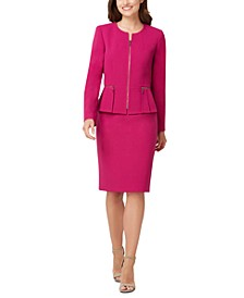 Peplum-Jacket Skirt Suit