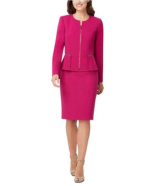 Tahari ASL Peplum-Jacket Skirt Suit