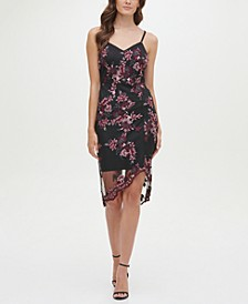 Sleeveless Floral Lace Chiffon Overlay Sheath Dress