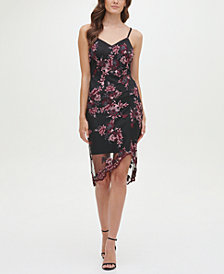 GUESS Sleeveless Floral Lace Chiffon Overlay Sheath Dress