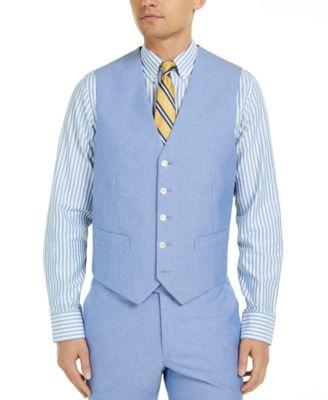 Men's Modern-Fit TH Flex Stretch  Chambray Suit Vests