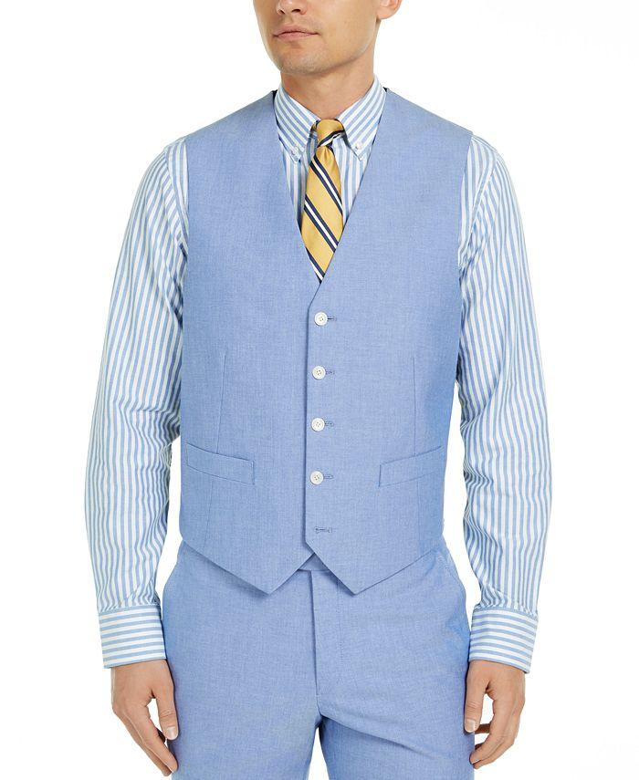 Tommy Hilfiger - Men's Modern-Fit THFlex Stretch Chambray Suit Vest