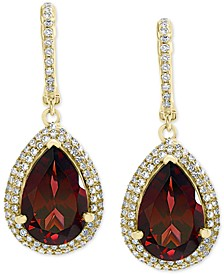EFFY® Rhodolite Garnet (7-1/3 ct. t.w.) & Diamond (1/2 ct. t.w.) Drop Earrings in 14k Gold