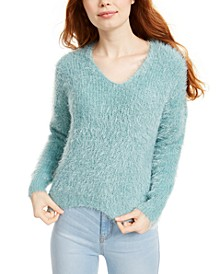 Juniors' Fuzzy V-Neck Sweater