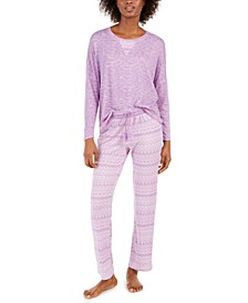 Women's Heathered Top & Printed Pants Pajama Set