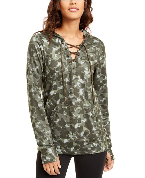 Ideology Camo Lace-Up Hoodie, Created for Macy's