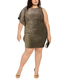 Plus Size One-Sleeve Metallic Bodycon Dress