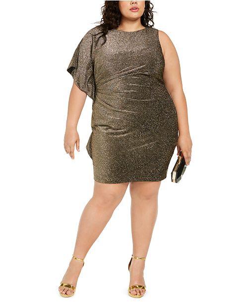 Plus Size One-Sleeve Metallic Bodycon Dress