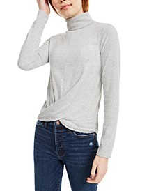 Juniors' Cozy Twist-Front Turtleneck Top