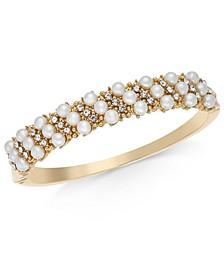Pavé & Imitation Pearl Striped Bangle Bracelet, Created For Macy's