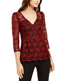 Lace 3/4-Sleeve Blouse