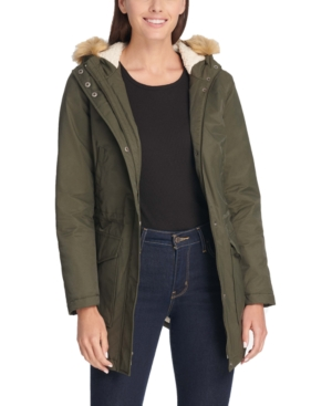 Levi's HOODED FISHTAIL PARKA WITH FAUX-FUR TRIM