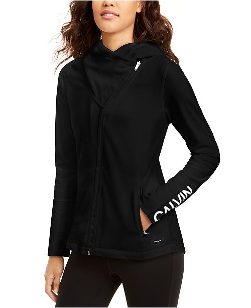 Calvin Klein Asymmetrical-Zip Hooded Jacket