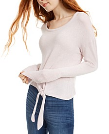Juniors' Cozy Tie-Front Top