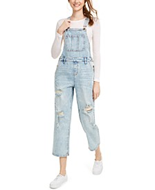 Juniors' Ripped Cropped Overalls