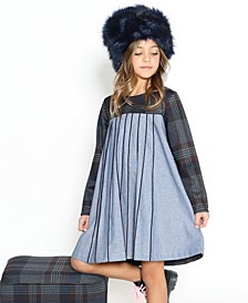 Toddler Girls Long-Sleeve A-Line Dress A Pleated Light Blue Fabric From The Chest Down