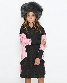 Toddler Girls Hoodie with Attached Long Sleeve Sweater Dress