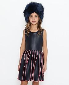 Lanoosh Little Girls Round Neck Sleeveless Dress with A Pink Merrowed Pleated Skirt