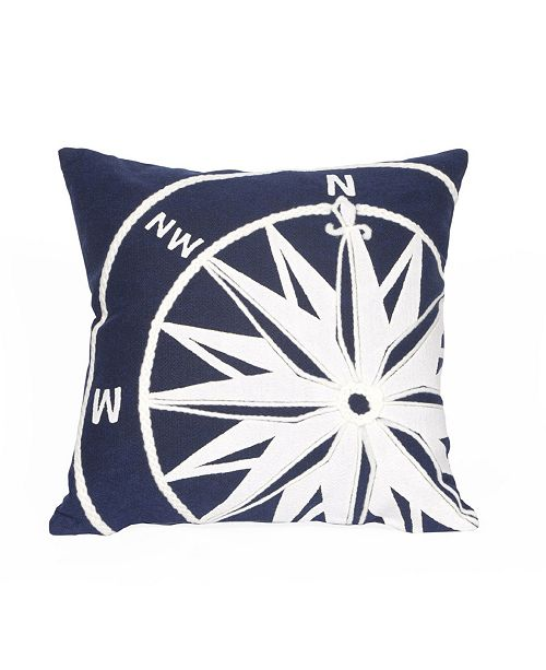 """Liora Manne Visions II Compass Indoor, Outdoor Pillow - 20"""" Square"""