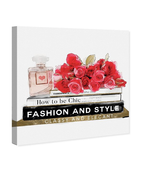 """Oliver Gal Gorgeous Books and Flowers Canvas Art, 16"""" x 16"""""""