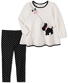 Baby Girls 2-Pc. Scottie Dog Tunic & Dot-Print Leggings Set