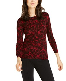 Lace-Print Sweater, Regular & Petite