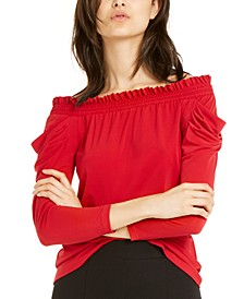 Off-The-Shoulder Draped-Sleeve Top