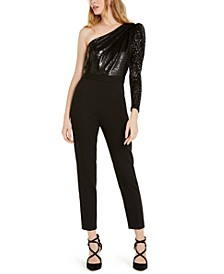 Michael Micheal Kors Sequined One-Shoulder Jumpsuit