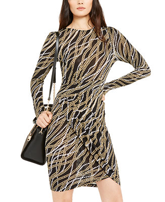 Chain Print Tulip Hem Dress, Regular & Petite by General