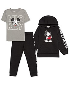 Little Boys 3-Pc. Mickey Mouse Hoodie, T-Shirt & Joggers Set