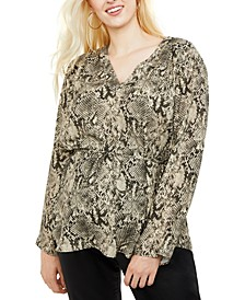 Motherhood Maternity Printed Split-Neck Blouse