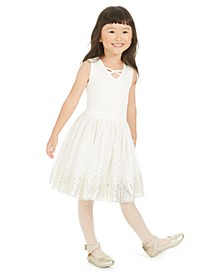 Little Girls Metallic-Star Tulle Dress, Created For Macy's