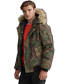Men's Faux-Fur-Trim Down Bomber Jacket