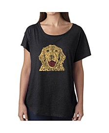 Women's Dolman Cut Word Art Shirt - Dog