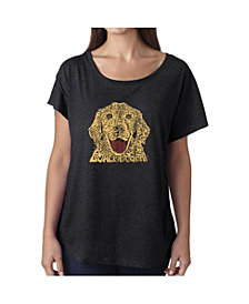 LA Pop Art Women's Dolman Cut Word Art Shirt - Dog