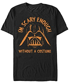 Star Wars Men's Darth Vader Scary without A Halloween Costume Short Sleeve T-Shirt