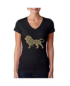 LA Pop Art Women's Word Art V-Neck T-Shirt - Lion